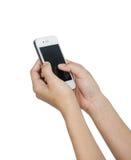 Vrouw met smartphone Royalty-vrije Stock Afbeeldingen