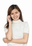 Vrouw met smartphone Stock Afbeeldingen