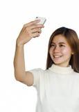 Vrouw met smartphone Stock Fotografie