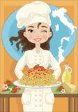 Vrouw met spaghetti Royalty-vrije Stock Afbeelding