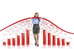 Vrouw met statistiekenkromme Royalty-vrije Stock Foto