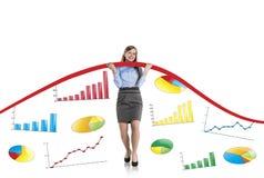 Vrouw met statistiekenkromme Stock Foto