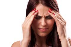 Vrouw met sterke migraine Royalty-vrije Stock Afbeelding
