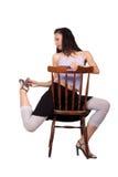 Vrouw met stoel Royalty-vrije Stock Foto