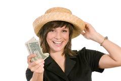 Vrouw met strohoed royalty-vrije stock foto