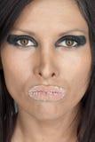Vrouw met suikerachtige lippen Stock Foto's