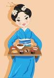 Vrouw met sushi Royalty-vrije Stock Afbeeldingen