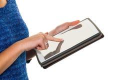 Vrouw met tabletcomputer Stock Afbeelding