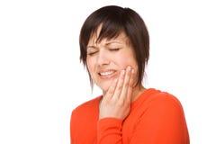 Vrouw met tandpijn Stock Foto's