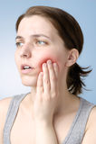 Vrouw met tandpijn Royalty-vrije Stock Foto