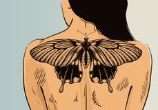 Vrouw met tatoegering op banner Vectorvlindertatoegering op rug Illustratie voor tatoegeringswoonkamer stock illustratie