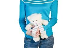 Vrouw met teddy Royalty-vrije Stock Foto's