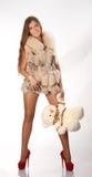 Vrouw met teddybear Royalty-vrije Stock Fotografie