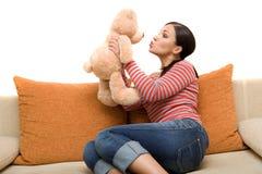 Vrouw met teddybear Stock Foto