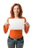 Vrouw met teken Stock Afbeeldingen