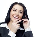 Vrouw met telefoon Royalty-vrije Stock Afbeeldingen