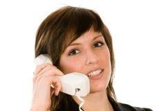 Vrouw met telefoon Royalty-vrije Stock Foto's