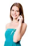 Vrouw met Telefoon Stock Afbeelding