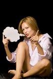Vrouw met toespraakballon   Stock Foto's