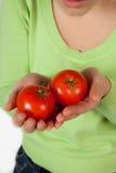 Vrouw met tomaten Royalty-vrije Stock Foto's
