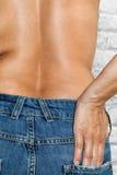 Vrouw met topless jeans Stock Afbeelding