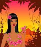 Vrouw met tropische bloemen stock illustratie
