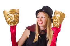 Vrouw met twee maskers Royalty-vrije Stock Foto's