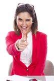 Vrouw met uitdrukking van vertrouwen en vrolijk Royalty-vrije Stock Afbeeldingen