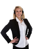 Vrouw met van het het telefoongesprekcentrum van de hoofdtelefoontelefoon de secretaressezaken Stock Foto's
