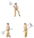 Vrouw met vangen netto op wit Royalty-vrije Stock Foto's