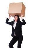 Vrouw met veel dozen Stock Foto