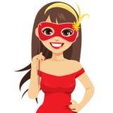 Vrouw met Venetiaans masker stock illustratie