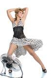 Vrouw met ventilator Royalty-vrije Stock Afbeelding