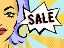 Vrouw met verkoopteken Vectorbanner in pop-artstijl Stock Afbeeldingen