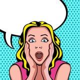 Vrouw met verraste uitdrukking stock afbeelding