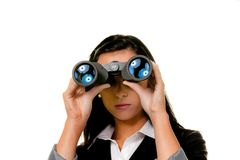 Vrouw met verrekijkers Stock Fotografie