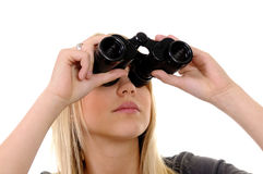 Vrouw met verrekijkers royalty-vrije stock afbeelding