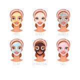 Vrouw met verschillende gezichts kosmetische maskers Reeks vectordieillustraties op witte achtergrond worden geïsoleerd stock foto