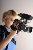 Vrouw met videocamera royalty-vrije stock fotografie