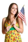 Vrouw met Vlag stock afbeeldingen