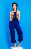 Vrouw met vlechten in blauwe tulband en globaal royalty-vrije stock afbeeldingen