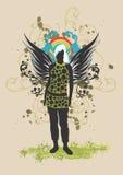 Vrouw met vleugels stock illustratie