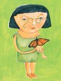 Vrouw met vlinder Stock Fotografie