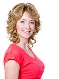 Vrouw met vrolijke toothy glimlach Stock Afbeelding