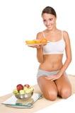 Vrouw met vruchten stock afbeelding