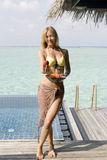 Vrouw met vruchten Stock Foto's