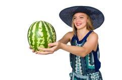 Vrouw met watermeloen op wit wordt geïsoleerd dat Royalty-vrije Stock Foto