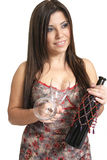 Vrouw met wijn stock foto