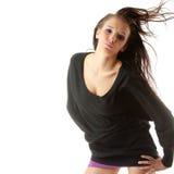 Vrouw met wind in haar haren Stock Foto