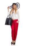 Vrouw met zak Stock Afbeelding